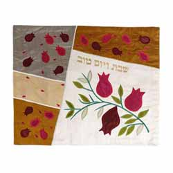 Silk Applique Pomegranates White