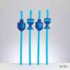 Set of 4 Chanukah Straws with Draydels and Menorahs