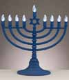 Battery Operated Blue LED Electronic Menorah with Clear Bulbs